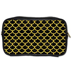 Scales1 Black Marble & Yellow Colored Pencil (r) Toiletries Bags 2 Side