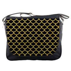 Scales1 Black Marble & Yellow Colored Pencil (r) Messenger Bags