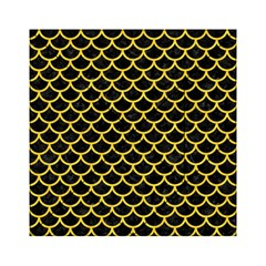 Scales1 Black Marble & Yellow Colored Pencil (r) Acrylic Tangram Puzzle (6  X 6 )