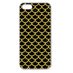 Scales1 Black Marble & Yellow Colored Pencil (r) Apple Seamless Iphone 5 Case (clear)
