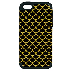 Scales1 Black Marble & Yellow Colored Pencil (r) Apple Iphone 5 Hardshell Case (pc+silicone)