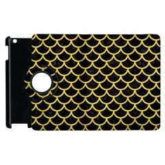Scales1 Black Marble & Yellow Colored Pencil (r) Apple Ipad 3/4 Flip 360 Case