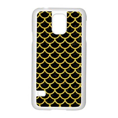Scales1 Black Marble & Yellow Colored Pencil (r) Samsung Galaxy S5 Case (white)
