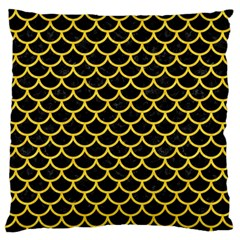 Scales1 Black Marble & Yellow Colored Pencil (r) Standard Flano Cushion Case (one Side)