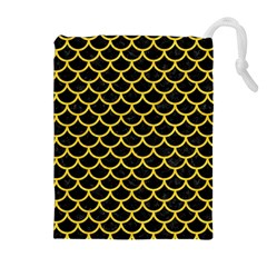Scales1 Black Marble & Yellow Colored Pencil (r) Drawstring Pouches (extra Large)