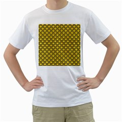 Scales2 Black Marble & Yellow Colored Pencil Men s T Shirt (white) (two Sided)