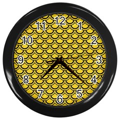 Scales2 Black Marble & Yellow Colored Pencil Wall Clocks (black)
