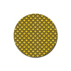 Scales2 Black Marble & Yellow Colored Pencil Rubber Round Coaster (4 Pack)