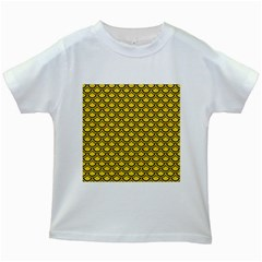 Scales2 Black Marble & Yellow Colored Pencil Kids White T Shirts