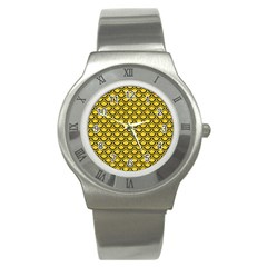 Scales2 Black Marble & Yellow Colored Pencil Stainless Steel Watch