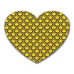 Scales2 Black Marble & Yellow Colored Pencil Heart Mousepads