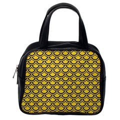 Scales2 Black Marble & Yellow Colored Pencil Classic Handbags (one Side)