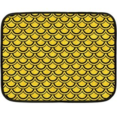 Scales2 Black Marble & Yellow Colored Pencil Double Sided Fleece Blanket (mini)