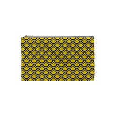 Scales2 Black Marble & Yellow Colored Pencil Cosmetic Bag (small)