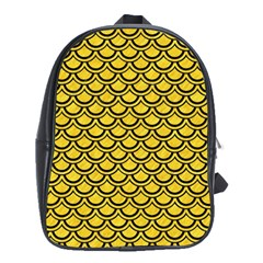 Scales2 Black Marble & Yellow Colored Pencil School Bag (large)