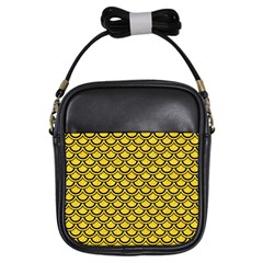 Scales2 Black Marble & Yellow Colored Pencil Girls Sling Bags