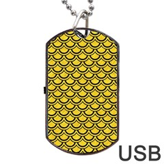 Scales2 Black Marble & Yellow Colored Pencil Dog Tag Usb Flash (two Sides)