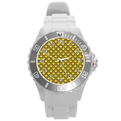 Scales2 Black Marble & Yellow Colored Pencil Round Plastic Sport Watch (l)