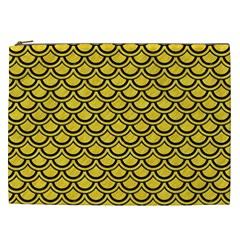 Scales2 Black Marble & Yellow Colored Pencil Cosmetic Bag (xxl)