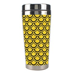 Scales2 Black Marble & Yellow Colored Pencil Stainless Steel Travel Tumblers