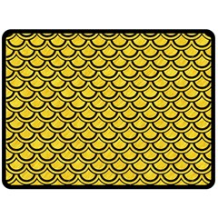 Scales2 Black Marble & Yellow Colored Pencil Double Sided Fleece Blanket (large)