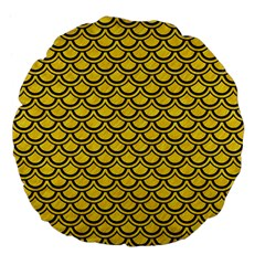 Scales2 Black Marble & Yellow Colored Pencil Large 18  Premium Flano Round Cushions