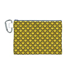 Scales2 Black Marble & Yellow Colored Pencil Canvas Cosmetic Bag (m)