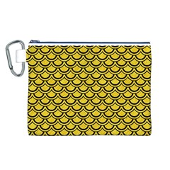 Scales2 Black Marble & Yellow Colored Pencil Canvas Cosmetic Bag (l)