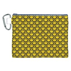 Scales2 Black Marble & Yellow Colored Pencil Canvas Cosmetic Bag (xxl)