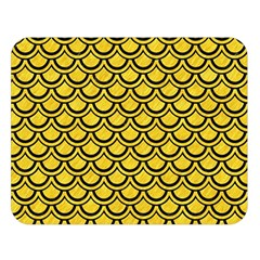 Scales2 Black Marble & Yellow Colored Pencil Double Sided Flano Blanket (large)
