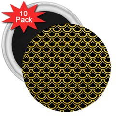 Scales2 Black Marble & Yellow Colored Pencil (r) 3  Magnets (10 Pack)