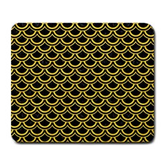 Scales2 Black Marble & Yellow Colored Pencil (r) Large Mousepads