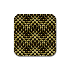 Scales2 Black Marble & Yellow Colored Pencil (r) Rubber Square Coaster (4 Pack)