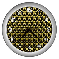 Scales2 Black Marble & Yellow Colored Pencil (r) Wall Clocks (silver)