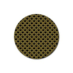 Scales2 Black Marble & Yellow Colored Pencil (r) Rubber Round Coaster (4 Pack)