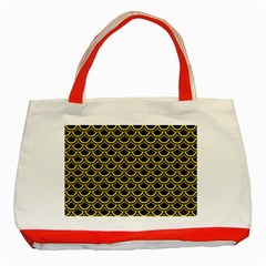 Scales2 Black Marble & Yellow Colored Pencil (r) Classic Tote Bag (red)