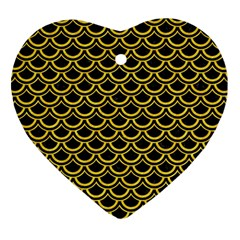 Scales2 Black Marble & Yellow Colored Pencil (r) Heart Ornament (two Sides)