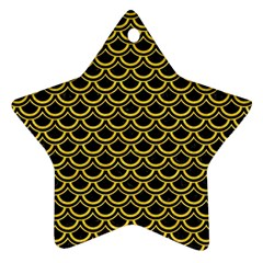 Scales2 Black Marble & Yellow Colored Pencil (r) Star Ornament (two Sides)