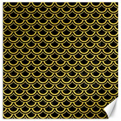 Scales2 Black Marble & Yellow Colored Pencil (r) Canvas 20  X 20