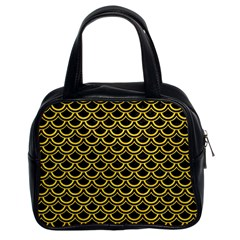 Scales2 Black Marble & Yellow Colored Pencil (r) Classic Handbags (2 Sides)