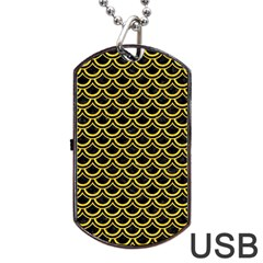 Scales2 Black Marble & Yellow Colored Pencil (r) Dog Tag Usb Flash (two Sides)