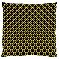 Scales2 Black Marble & Yellow Colored Pencil (r) Large Cushion Case (one Side)