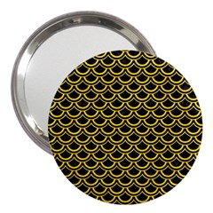 Scales2 Black Marble & Yellow Colored Pencil (r) 3  Handbag Mirrors