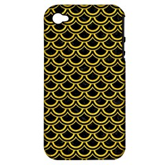 Scales2 Black Marble & Yellow Colored Pencil (r) Apple Iphone 4/4s Hardshell Case (pc+silicone)