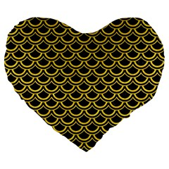 Scales2 Black Marble & Yellow Colored Pencil (r) Large 19  Premium Flano Heart Shape Cushions