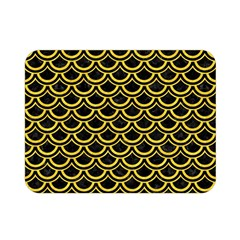 Scales2 Black Marble & Yellow Colored Pencil (r) Double Sided Flano Blanket (mini)