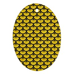 Scales3 Black Marble & Yellow Colored Pencil Ornament (oval)