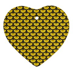 Scales3 Black Marble & Yellow Colored Pencil Ornament (heart)
