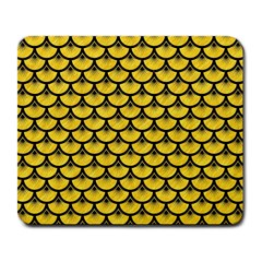 Scales3 Black Marble & Yellow Colored Pencil Large Mousepads
