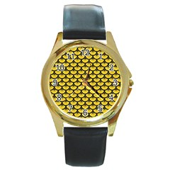 Scales3 Black Marble & Yellow Colored Pencil Round Gold Metal Watch